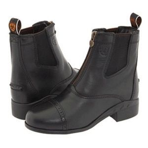 Ariat Heritage Zip Black Leather Ankle Boots Sz 5